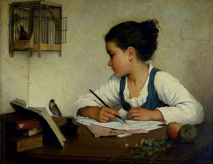 Henriette Browne, A Girl Writing The Pet Goldfinch, 1870