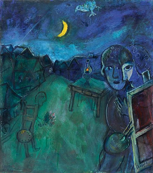Marc Chagall - On the road to Lake Cramberry - 1944