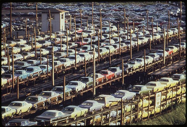 New cars loaded for rail transport, Detroit, 1973