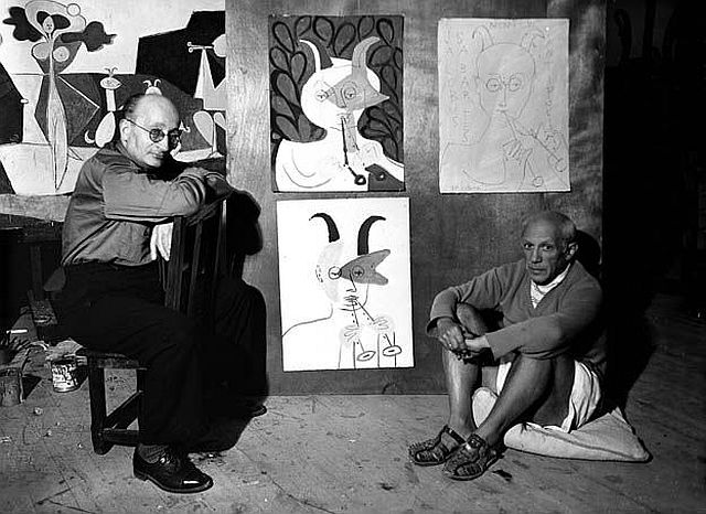 Pablo Picasso and Jaume Sabartés - Château Grimaldi, Antibes, 1946