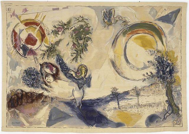 Mediterranean Landscape, tapestry woven by Goblins,1971