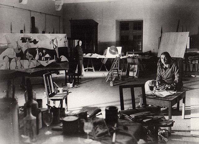 Picasso with  Francoise Gilot, Antibes studio1946