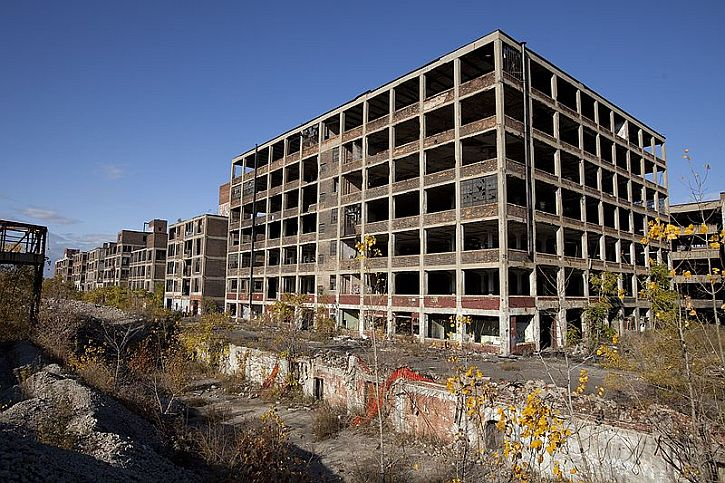 The abandoned Packard automobile factory in Detroit