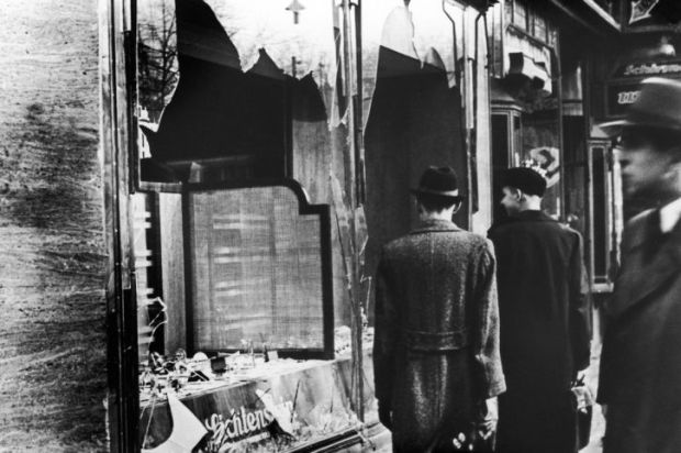 A Jewish shop in Berlin on 11 November 1938, after the anti-Semitic violence of Kristallnacht.