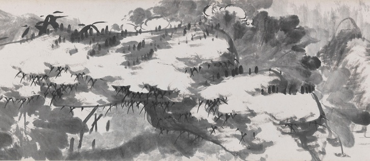 Bada Shanren, Flowers on the River, 1759, detail 4
