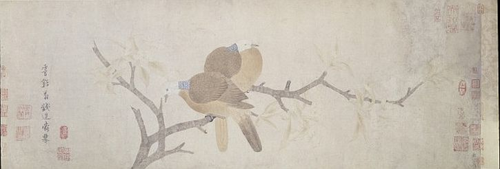 Doves and Pear Blossom After Rain, Qian Xuan, c1235