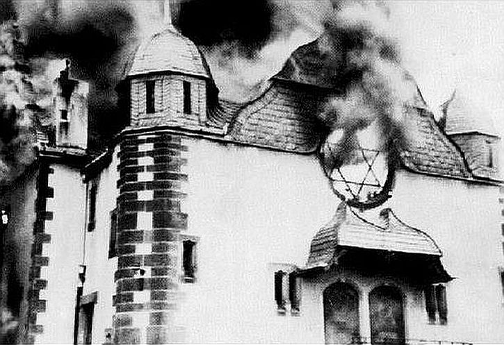 flames pouring out of a synagogue in Siegen