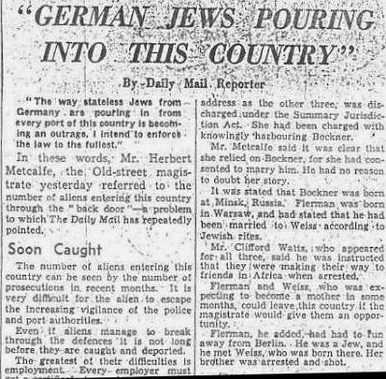German Jews Pouring into this country Daily Mail, Saturday 20 August 1938