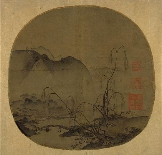 Ma Yuan, Bare Willows and Distant Mountains, c1175-1200