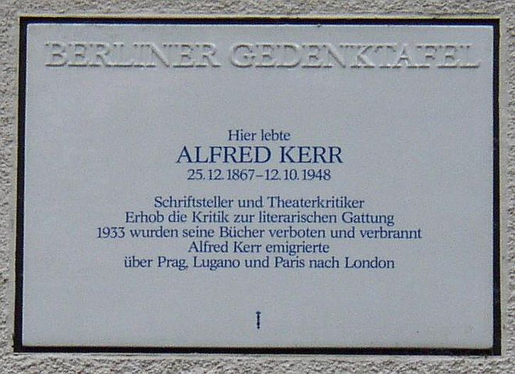 Memorial plaque for Alfred Kerr in Berlin
