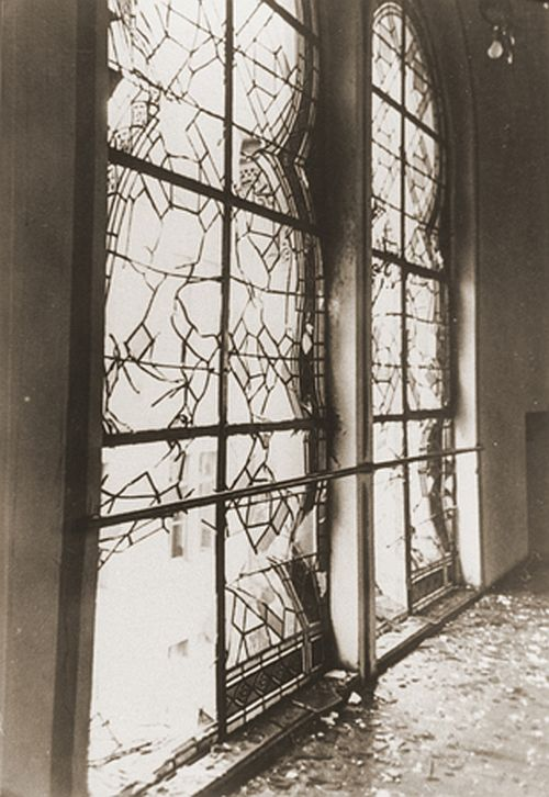 shattered stained glass windows of the Zerrennerstrasse synagogue