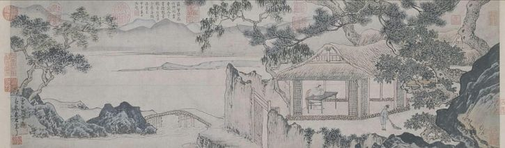 Zou Chen, Dwelling by the Stream in Spring, 1475