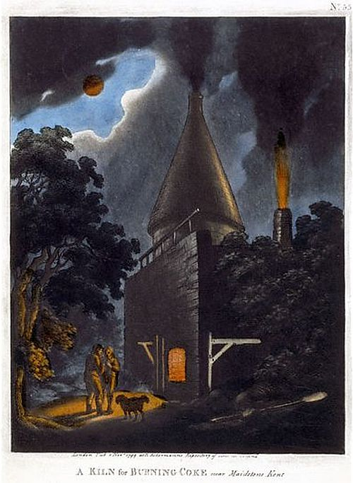 A Kiln for Burning Coke, near Maidstone, Kent 1799 Aquatint and hand