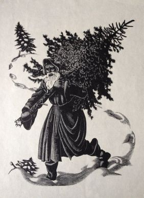 Clare Leighton Santa Claus with tree