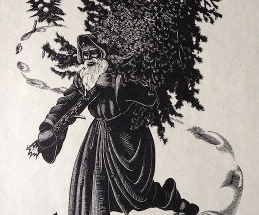 Christmas card: Clare Leighton's Santa Claus shoulders hisload