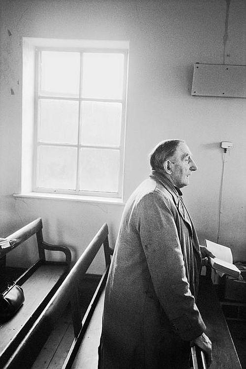 Crimsworth Dean Methodist Chapel. Charlie Greenwood singing Hymms in the chapel. 1976