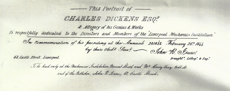 Dickens portrait for Mechanics Institution 1844 text
