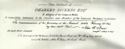 Dickens portrait for Mechanics Institution 1844 text