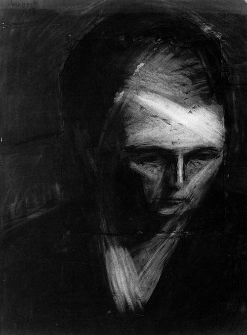 Frank Auerbach, Head of E.O.W, charcoal on paper, 1956