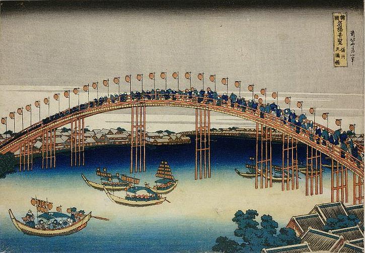 Hokusai Settsu Temma-bashi, 1827