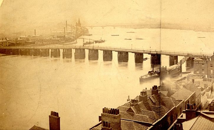 James Hedderley Looking west towards Old Battersea Bridge from the tower of Chelsea Old Church, 1870-75.