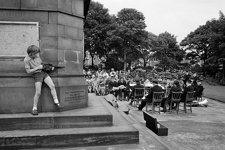 Martin Parr Halifax, West Vale Park. Three local chapels combine to have an outdoor service. 1975
