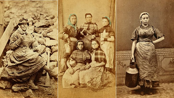 Photographs of anonymous female workers iron works Tredegar 1860s