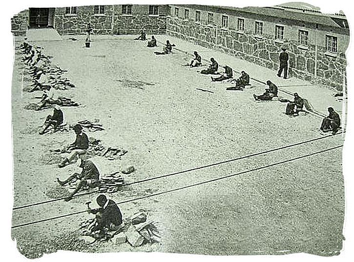Robben Island prisoners break rocks, 1964