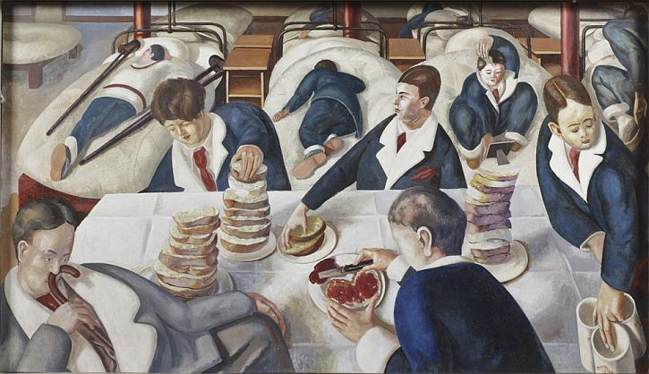 TEA IN THE HOSPITAL WARD by Stanley Spencer (1891- 1959) on the south wall at Sandham Memorial Chapel, Burghclere, Hampshire.