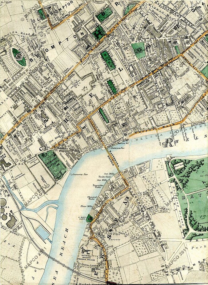 Stanford map Chelsea 1862