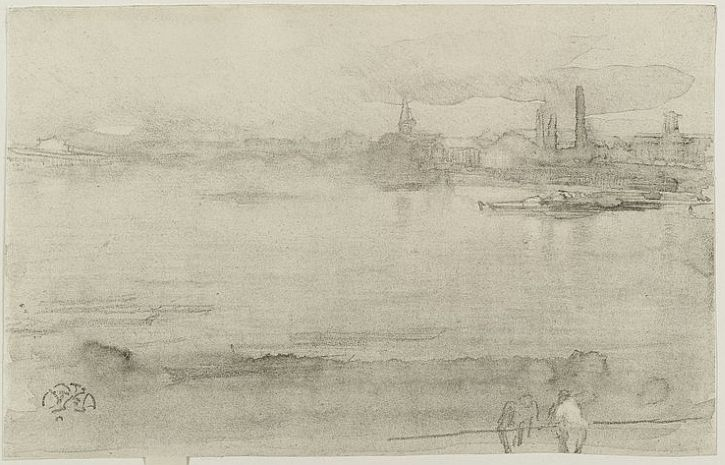 Whistler, Early Morning, lithograph, 1878