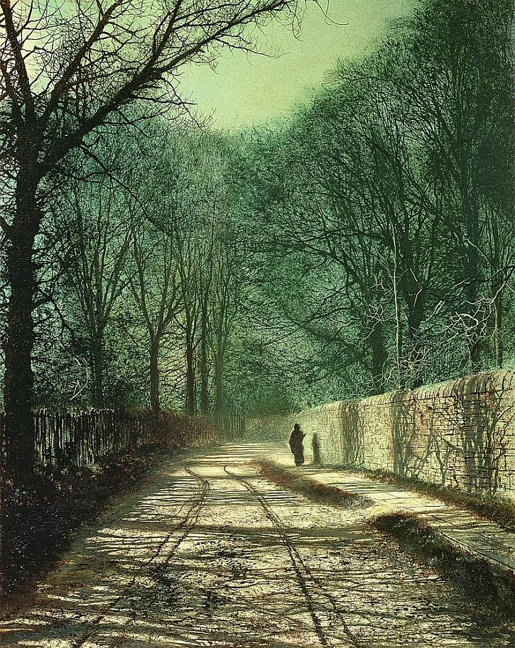 Atkinson Grimshaw, Tree Shadows in the Park Wall, Roundhay, Leeds, 1872