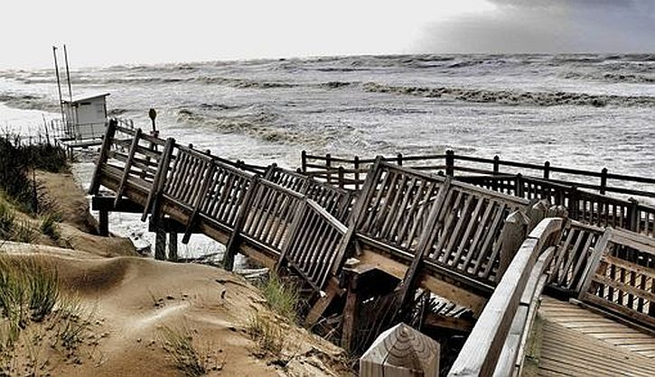 Formby beach storm damage to boardwalk. Photo by Colin Lane, Liverpool Echo