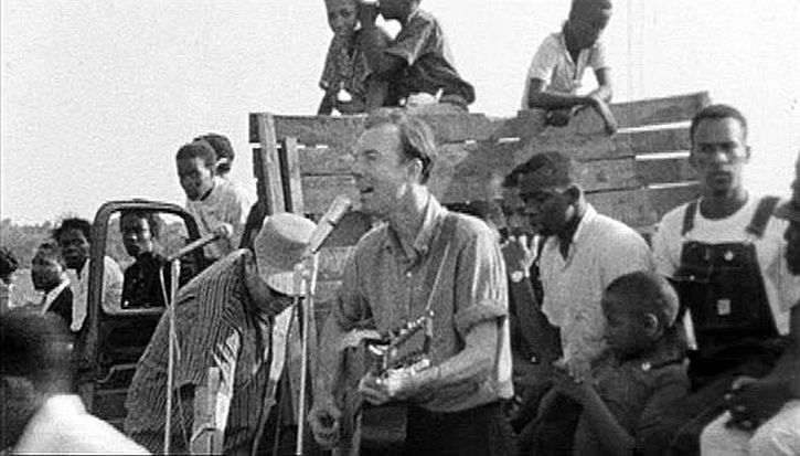 Pete Seeger singing If I Had a Hammer at SNCC rally in Greenwood, MS, 1963