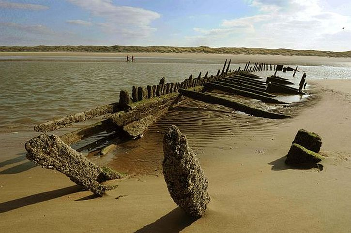 The Star Of Hope German Barque which was shipwrecked in 1883 on Ainsdale beach