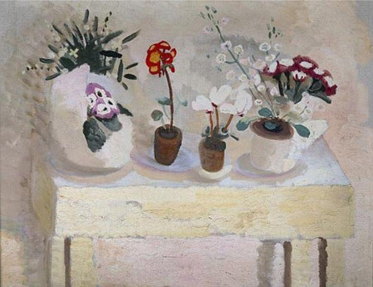 Winifred Nicholson, Flower Table, Pots, 1927