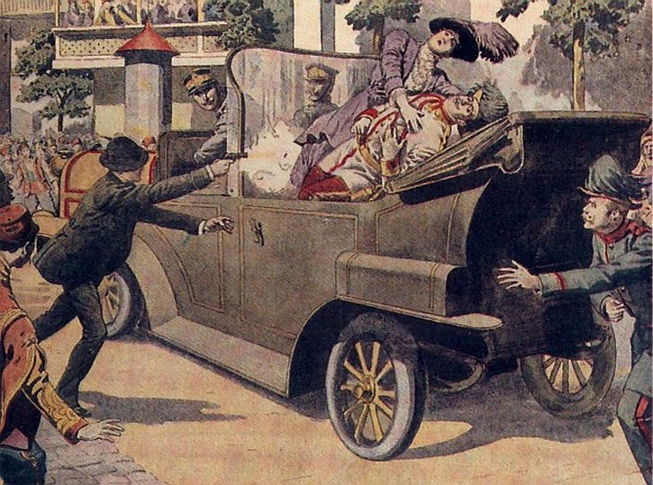 A contemporary painting depicting the murder of Archduke Franz Ferdinand and his wife, Sophie