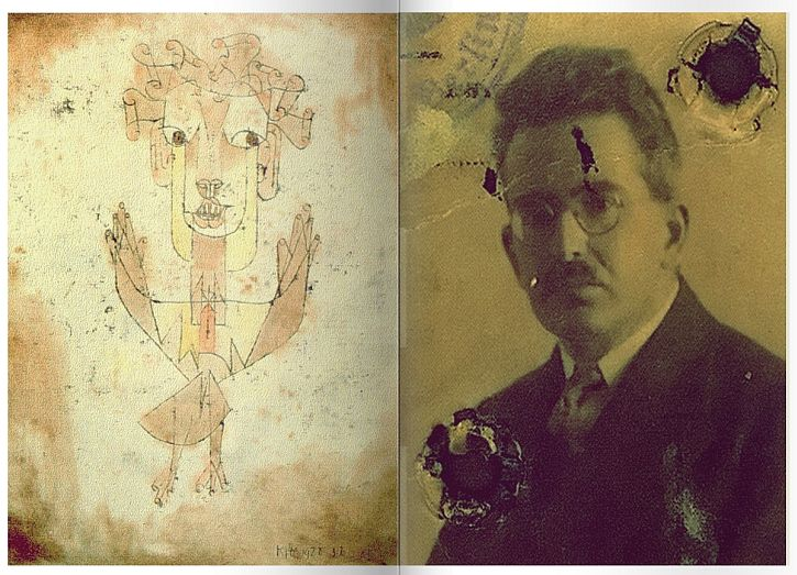 Angelus Ovus, Paul Klee and photo of Walter Benjamin