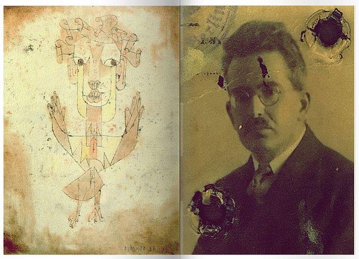 Angelus Ovus, Paul Klee and photo of Walter Benjamin