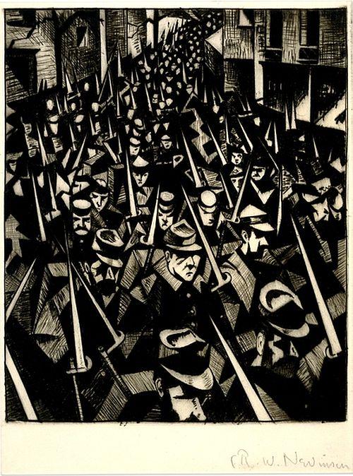 C.R.W. Nevinson, A Dawn, 1914, drypoint