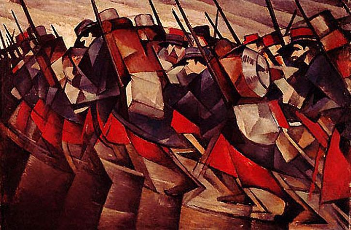 CRW Nevinson, Returning to the Trenches, 1914