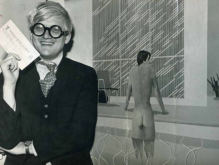 David Hockney after winning the John Moores Painting Prize in 1967