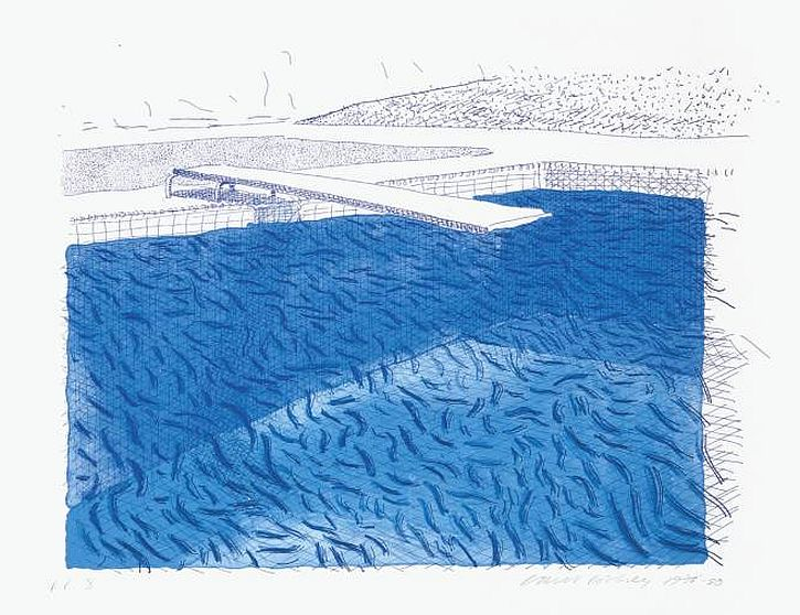 Lithographic Water Made of Lines, Crayon and Two Blue Washes Without Green Wash 1978-80 by David Hockney born 1937