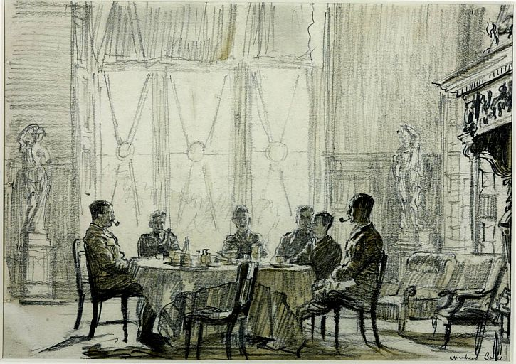 Heavy Artillery Officers' Mess, Vlamertinghe Chateau, August 1916 1916 by Sir Muirhead Bone 1876-1953