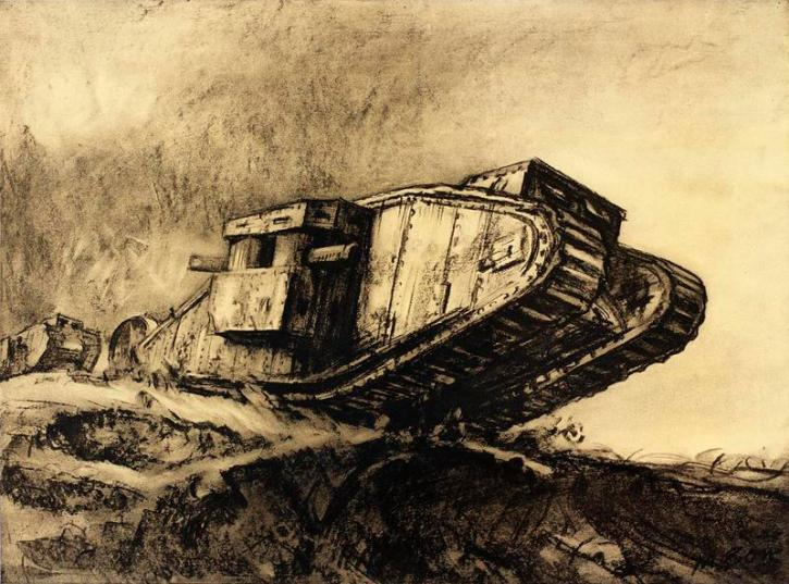 Muirhead Bone, Tanks, 1918
