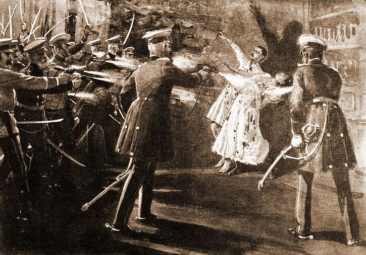 Murder in 1903 of the Serbian King Alexander and his wife, Draga