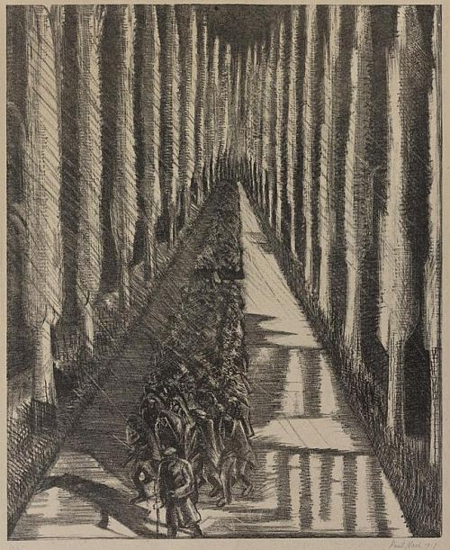 Paul Nash, Men Marching at Night, 1918