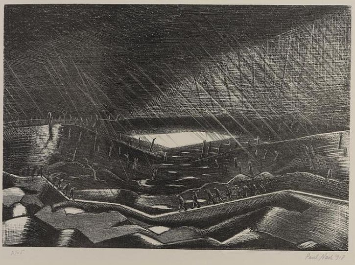 Paul Nash, Rain: Lake Zillebeke, 1917