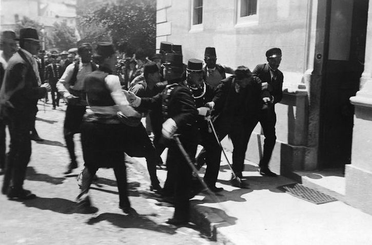 Police in Sarajevo arrest one of Gavrilo Princip's co-conspirators after the earlier, failed attempt on the life of Archduke Franz Ferdinand