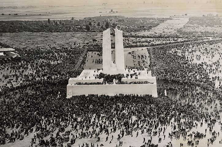 The dedication of the Canadian War Memorial at Vimy Ridge, July 1936